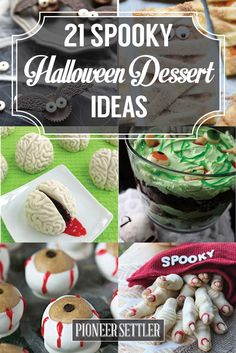 Thinking of what to serve this year for Halloween? If you're looking for treats, look no further. Here's a roundup of spooky Halloween dessert ideas to try! Halloween Themed Food, Halloween Desserts, Halloween Cakes, Party Desserts, Holiday Desserts, Holidays Halloween, Spooky Halloween, Halloween Treats, Holiday Recipes