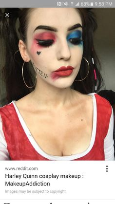harley quinn make up Más Harley Quinn Halloween Costume, Cute Couple Halloween Costumes, Cool Halloween Makeup, Harley Quinn Cosplay, Halloween Looks, Diy Costumes, Diy Halloween, Pirate Costumes, Makeup Ideas