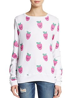 Wildfox Happy Berries Sweatshirt (white strawberry) | Saks Off Fifth