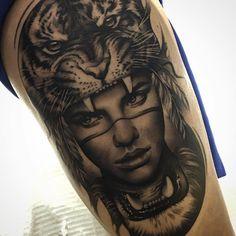2017 trend Animal Tattoo Designs - Tiger headdress tattoo by Matias Noble. Tiger Tattoo, Tattoo On, Head Tattoos, Wolf Tattoos, Girl Tattoos, Tattoos For Guys, Tattoo Celtic, Print Tattoos, Tattoo Quotes