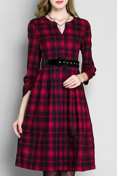 Red Black Plaid Long Sleeve Dress: Long Sleeve Dresses | ZAFUL