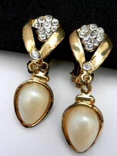 Elegant dangling earrings, Art Nouveau 1960 -original vintage with gold, crystals and pearls--Art.768/2-