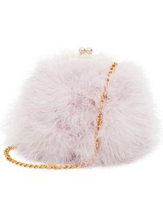 Zarapack Women's Genuine Fluffy Feather Fur Round Clutch Shoulder Bag (Light Pinkpurple) ❤ ...