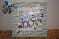 Baby Boy Mini Album Chipboard Scrapbook by lesliepie on Etsy, $20.00