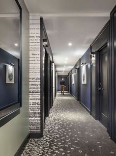 "They did a beautiful job designing the new boutique Press Hotel in Portland Maine. Custom wallpaper featuring old newspaper headlines and letters ""scattered"" on the carpet are some of the newspaper-inspired touches."