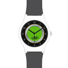 Bright Green Silver Black Monogram Wrist Watch by Time Defined