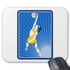 netball player catching passing ball mouse pad. Mouse pad with a retro style illustration of a netball player jumping to catch the ball with sunburst in background. #netball #athlete #mousepad