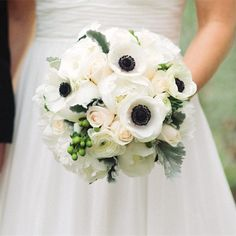 Anemone Bouquet Photo by: Jeff Wojtaszek Photography /// Weddings Location: Greystone Hall Bridal bouquet: Tish Long