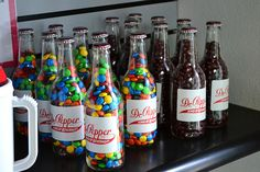 old glass soda bottles to hold candies!