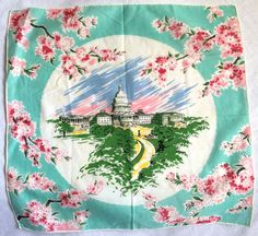 Vintage Washington DC Cotton Handkerchief Cherry Blossom Capitol Hand Rolled Hem #Unbranded #Souvenir