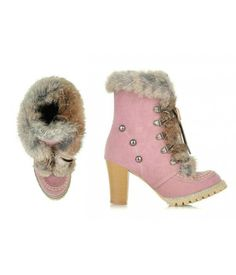 Womens Suede Chunky Fur Lined Boots Available in Pink, Tan or Blue www.RockABillyGirlZ.com