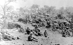 British soldiers relax on a hillside following the defeat of the Boer defenders at Tugela Heights. Unlike the previous efforts to lift the siege of Ladysmith, the British were able to win the day, although as before, it was at great cost, despite their overwhelming numbers. With the capture of the Boer positions on Feb. 27th, 1900, the rest of the besiegers abandoned their positions over the night, and the town was relieved the next day. (Ladysmith Siege Museum)