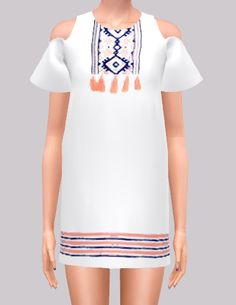 """""""New dress mesh! Loose dress no shoulder sleeve. Detail is available in blue/orange and blue/green. Also solid color. Everything but the detail is changeable~ Again, I am new to this so let me know if..."""""""
