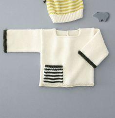 Voici un modèle tout en délicatesse avec cette brassière et sa petite poche rayée sur le devant. Tricoté en ' laine partner 3.5 ', coloris Ecru et Sapin.Modèle N°20 du catalogue N°129 : Automne/Hiver 2015, Layette Facile.