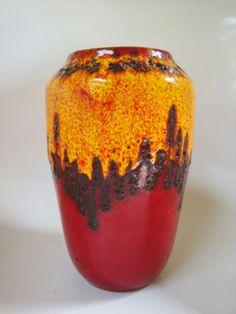 vintage west german fat lava pottery vase retro