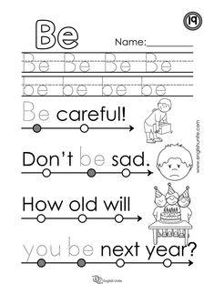 Beginning Reading 13 - He - English Unite Kindergarten Curriculum Map, Kindergarten Writing, Sight Word Worksheets, Reading Worksheets, Beginning Reading, First Grade Reading, Sight Word Practice, Sight Words, Writing Practice