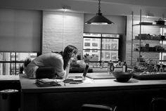 "s-stevens: ""Keira Knightley on Set of ""Last Night"" by Brigitte Lacombe "" Last Night Movie, Brigitte Lacombe, Condo, Keira Knightley, Life Humor, Home Decor Kitchen, Simple Style, Countertops, Desk"