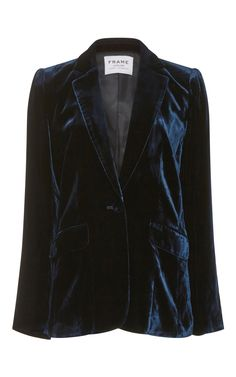 For a menswear approach, this **Frame Denim** blazer is rendered entirely in a rich blue velvet adding texture to the evening,. Navy Jacket, Blazer Jacket, Leather Jacket, Velvet Blazer, Velvet Jacket, Blazers For Women, Suits For Women, Blazer Buttons, Looks Style