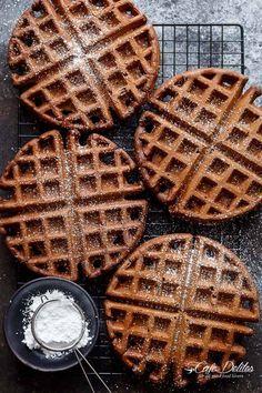 Dark Chocolate Cake Waffles   https://cafedelites.com