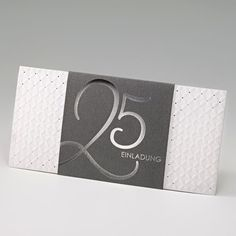"""Einladungskarte """"Silberhochzeit"""" im edlen Design bestellen."""