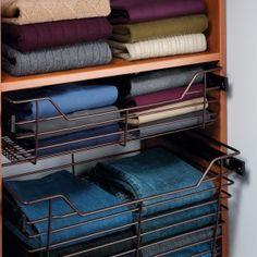 "Hafele Closet Baskets with Full Extension Slides, 14"" Depth-Oil-Rubbed Bronze Powder Coat"