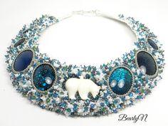Collier plastron Bear In Mind, ours en os et cristaux de Swarovski Swarovski, Artisan, Jewelry, Jewelry Collection, Crystals, Necklaces, Jewlery, Jewerly, Schmuck