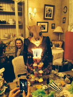 Just a quick photo from the Tarot Birthday Party I worked yesterday near Union Square. That's the Birthday Squirrel herself!