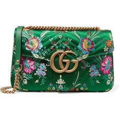 GucciGg Marmont Medium Quilted Floral-jacquard Shoulder Bag (€1.405) ❤ liked on Polyvore featuring bags, handbags, shoulder bags, green, green handbags, quilted shoulder bag, green purse, gucci and quilted purses