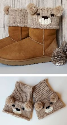 Free Knitting Pattern for Teddy Bear Boot Toppers - A colorwork bear face and pom pom ears create an adorable boot cuff designed by Alexandra Davidoff. teddy Bear pattern is free. Koala and Panda boot topper patternsare available at Annie's.
