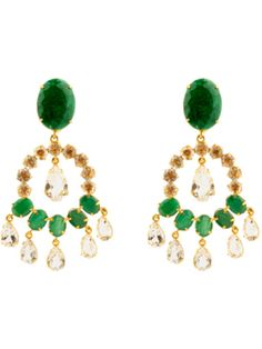 Emerald And Clear Quartz Earrings, by Bounkit - Bounkit Jewelry on Taigan