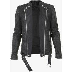 Balmain Quilted cotton-denim biker jacket (12.575 DKK) ❤ liked on Polyvore featuring men's fashion, men's clothing, men's outerwear, men's jackets, mens quilted biker jacket, mens quilted jacket, mens zip up jacket and balmain mens jacket