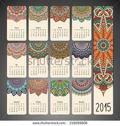 Vintage Calendar. Round Ornament Pattern. Vintage decorative elements. Hand…