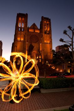 GlitterGirl Poi Fire Dancing at Grace Cathedral, San Francisco