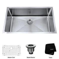 KRAUS - 30 Inch Undermount Single Bowl 16 gauge Stainless Steel Kitchen Sink - KHU100-30 - Home Depot Canada