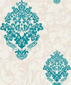 crown arabesque teal wallpaper