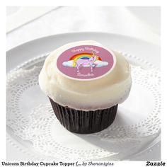 Unicorn Birthday Cupcake Topper (Customizable)