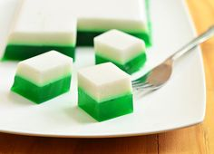 Pandan and Coconut Jelly is a layered jelly dessert made with agar-agar, coconut milk and pandan extract