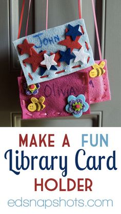 FUN KIDS CRAFT: Need a place to carry or stash your kids' library cards? Make a Fun Library Card Holder @ Everyday Snapshots. Quick And Easy Crafts, Crafts For Kids To Make, Library Activities, Craft Activities, Library Programs, Library Cards, Kids Library, Library Ideas, Crafty Kids