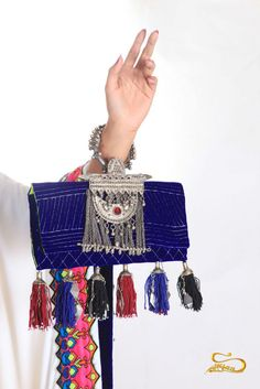 Perfect evening clutch with elements made of silver bedouin jewelry pieces - Saudi Arabia handmade.