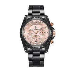 #TomTop - #TomTop IK COLOURING 2017 Luxury Brand Stainless Steel/Genuine Leather Women Watches Quartz Analog Diamond Water-Proof Ladies Casual Dress Wristwatch + Box - AdoreWe.com
