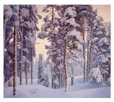 Artwork by Hilding Werner, Snow-covered winter landscape, Made of Canvas