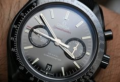 Review of the black ceramic Omega Speedmaster Co-Axial Chronograph Dark Side Of The Moon Watch.