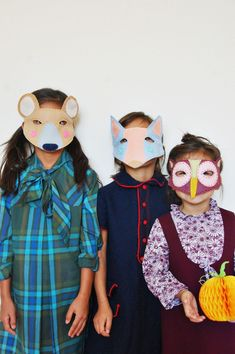 Woodland creatures felt masks for halloween (click through for tutorial)