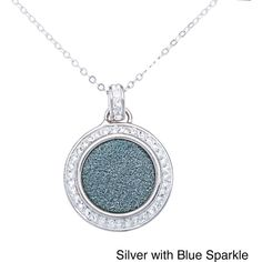 La Preciosa Sterling Silver Sparkle and Crystal Circle Pendant... ($30) ❤ liked on Polyvore featuring jewelry, necklaces, white, long necklaces, sterling silver necklace pendant, round pendant necklace, cable chain necklace and long crystal necklace
