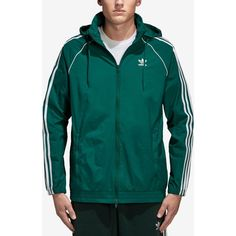 adidas Originals Men's Superstar Windbreaker (635 NOK) ❤ liked on Polyvore featuring men's fashion, men's clothing, men's activewear, men's activewear jackets, green and adidas