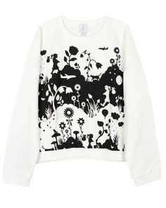 KW Land Sweater by Karen Walker Karen Walker, Color Of Life, Textile Design, Textiles, Graphic Sweatshirt, Black And White, Patterns, Digital, Sweatshirts
