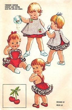 McCall\'s 2441 Vintage Super Cute Toddler Girls Sunsuit and Topper with Cherries Transfer - Ruffled Bottom & Bib - Sewing Pattern Size 1