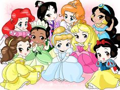 Chibi-Disney Princesses  by ~rebenke   top left: Ariel, Mulan, Giselle, Jasmine   bottom left: Belle, Tiana, Cinderella, Aurora, Snow White