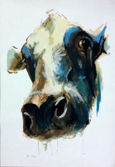 A silkscreen print by artist Theo Onnes. The work has a size of 70 x 100 cm and is released in a circulation of 75 pieces. Happy Cow, Farm Art, Silk Screen Printing, Art Auction, Animal Paintings, Artist At Work, Cattle, Contemporary Art, Moose Art