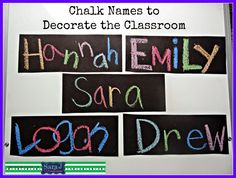 Use wet chalk on black paper to make student names pop. This is fun to do at the beginning of the year as a get to know you activity that doubles as classroom decor. Also, this blog includes free activities and printables to use with student names. Perfect for back to school.